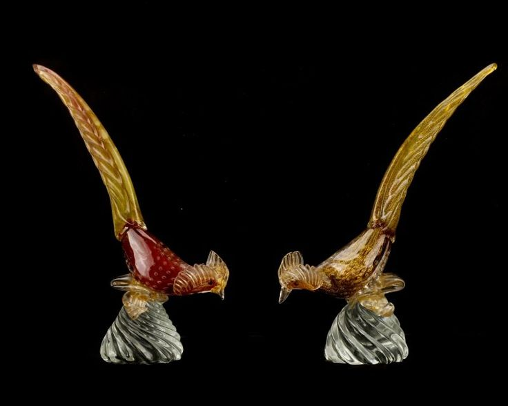 Lot:Pair, Murano Glass Pheasants, Attributed to Seguso, Lot Number:159, Starting Bid:$150, Auctioneer:Ahlers & Ogletree Auction Gallery, Auction:Pair, Murano Glass Pheasants, Attributed to Seguso, Date:06:00 AM PT - Jun 25th, 2016