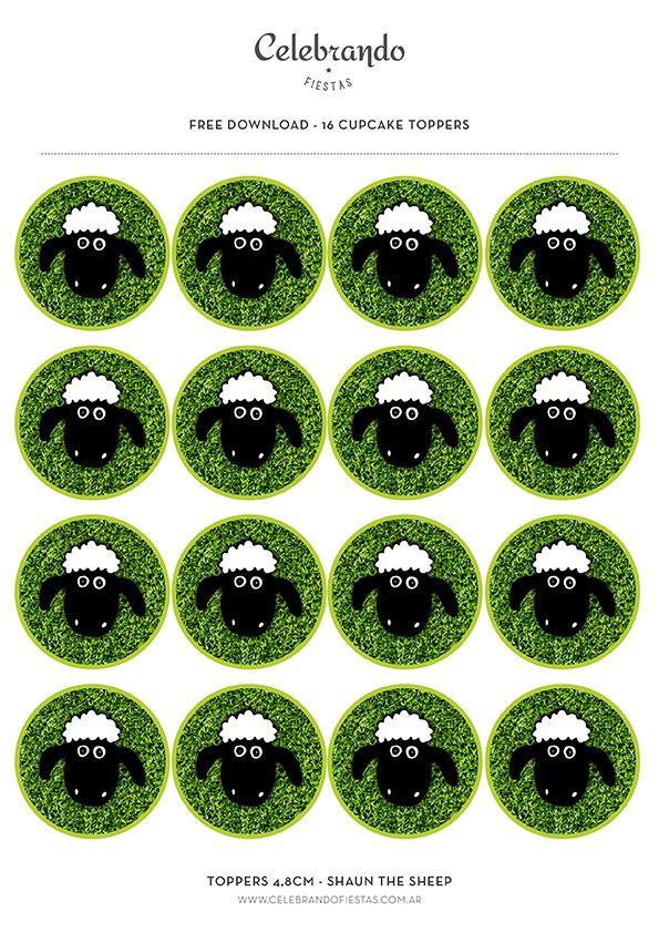 Cupcake Toppers Shaun the sheep Free Download - Celebrando Fiestas