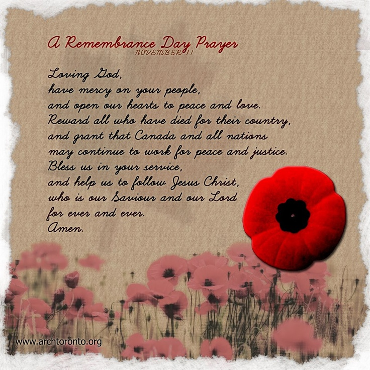 A Remembrance Day Prayer (November 11)