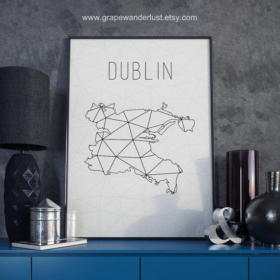 Dublin map Dublin Ireland Dublin art Dublin print