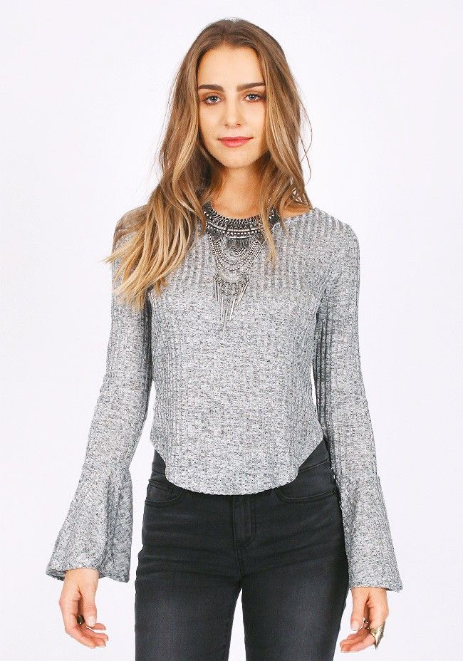 Night Moves Metallic Ribbed Top in Silver | ThreadSence