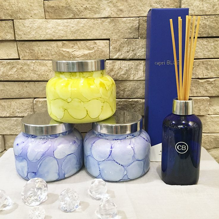 New Capri Blue watercolor candles are in store and ready for spring! #lovelulu #lulubellaboutique
