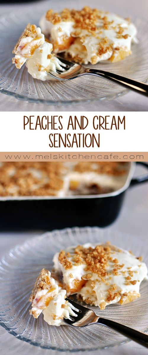 This Peaches and Cream Sensation is delicious. Layers of whipped cream enfold fresh, juicy peaches and nestle on a bed of buttery, sweet graham crackers.