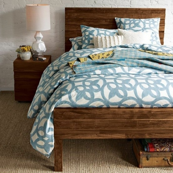 Would be cute with dark wood bed frame