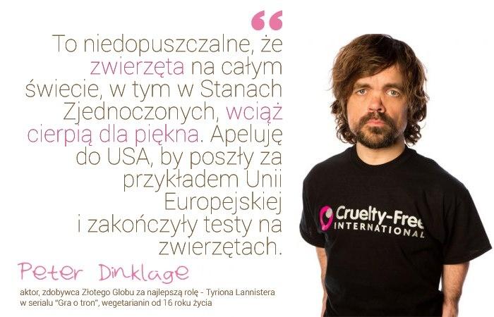 Peter Dinklage przeciwko testom na zwierzętach ! :)