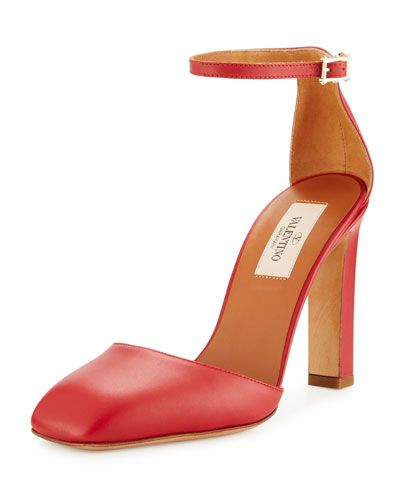 VALENTINO LEATHER SQUARE-TOE PUMP, RED. #valentino #shoes #pumps