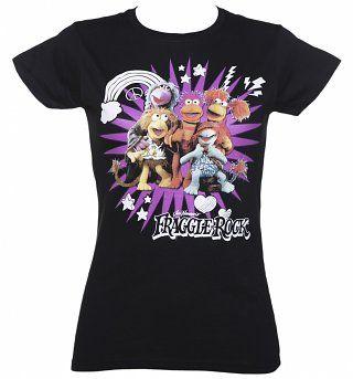 Ladies Black Fraggle Rock Characters T-Shirt