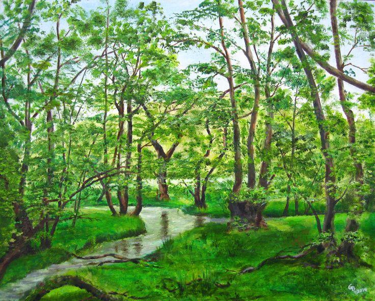 Dinas Bird Reserve, Rhandir-mwyn. Oil on canvas board by Gorica Bulcock.SOLD
