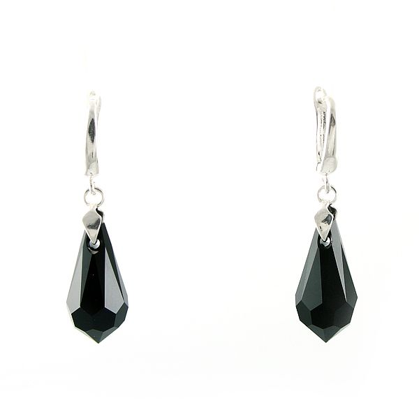 Black teardrops. Swarovski crystals.
