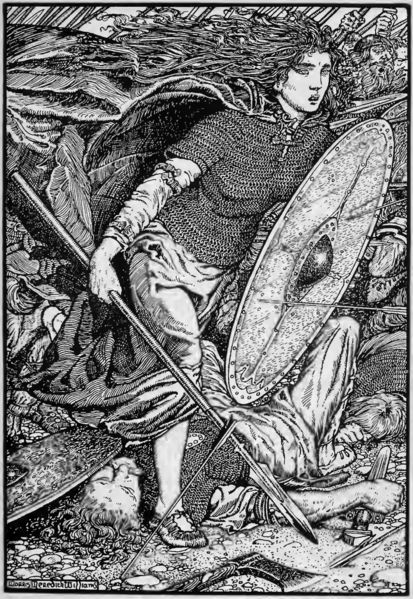 The shieldmaiden Lagertha, wife of Ragnar Lodbrok lithograph by Morris Meredith Williams,1913