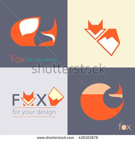 Set red Fox with fluffy tail logo sign, illustration and symbol. collection of vector icons - stock vector