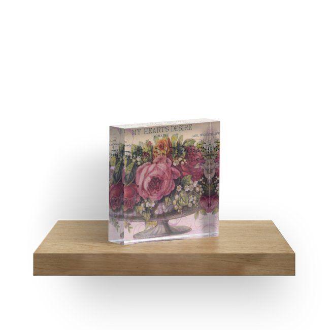 Acrylic Block.  #roses #vintage #mixedmedia #mixedmediaart #sandrafoster