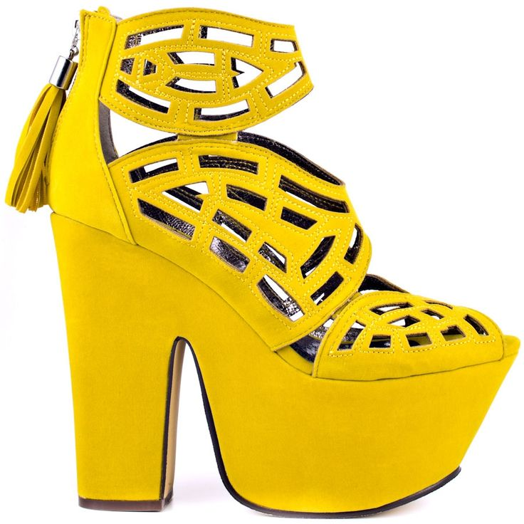 89.00$  Buy here - http://alim79.worldwells.pw/go.php?t=32625053617 - Yellow Suede Platform Sandals Plus Size High Heel Open Toe Square Chunky Heel Ladies Shoes Women Summer Shoes Hollow Out Tassel 89.00$