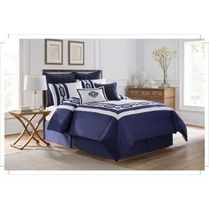 Soho New York Hotel Embroidery 8-Piece Blue King Comforter Set-790618039874 - The Home Depot