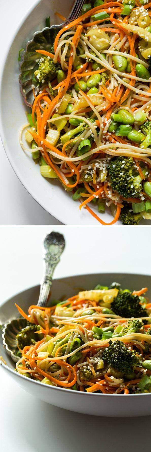 Speedy Veggie 'n Brown Rice Noodle Bowl with Homemade Teriyaki Sauce