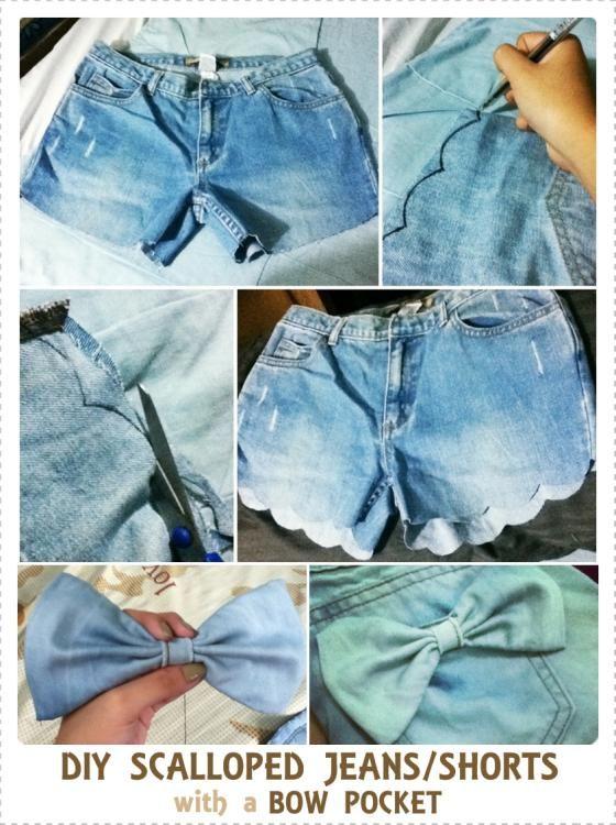 DIY Clothes Refashion : DIY Shorts with a Bow Pocket