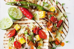 Coconut fish tacos with mango salsa and blistered chillies - body+soul