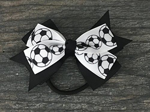 Soccer Hair Accessories, Soccer Hair Bows, Soccer Bow for Girls, Soccer Gift SOCCER HAIR BOW- Adorable Soccer Ball Black and White Hair Bow for Girls SOCCER HAIR ACCESSORIES- 5.5 inch Hair Bows are made from 3 inch wide Grosgrain Soccer Ribbon SOCCER PONYTAIL HOLDER- Each Soccer Bow is fastened with an elastic pony tail holder https://sports.boutiquecloset.com/product/soccer-hair-accessories-soccer-hair-bows-soccer-bow-for-girls-soccer-gift/