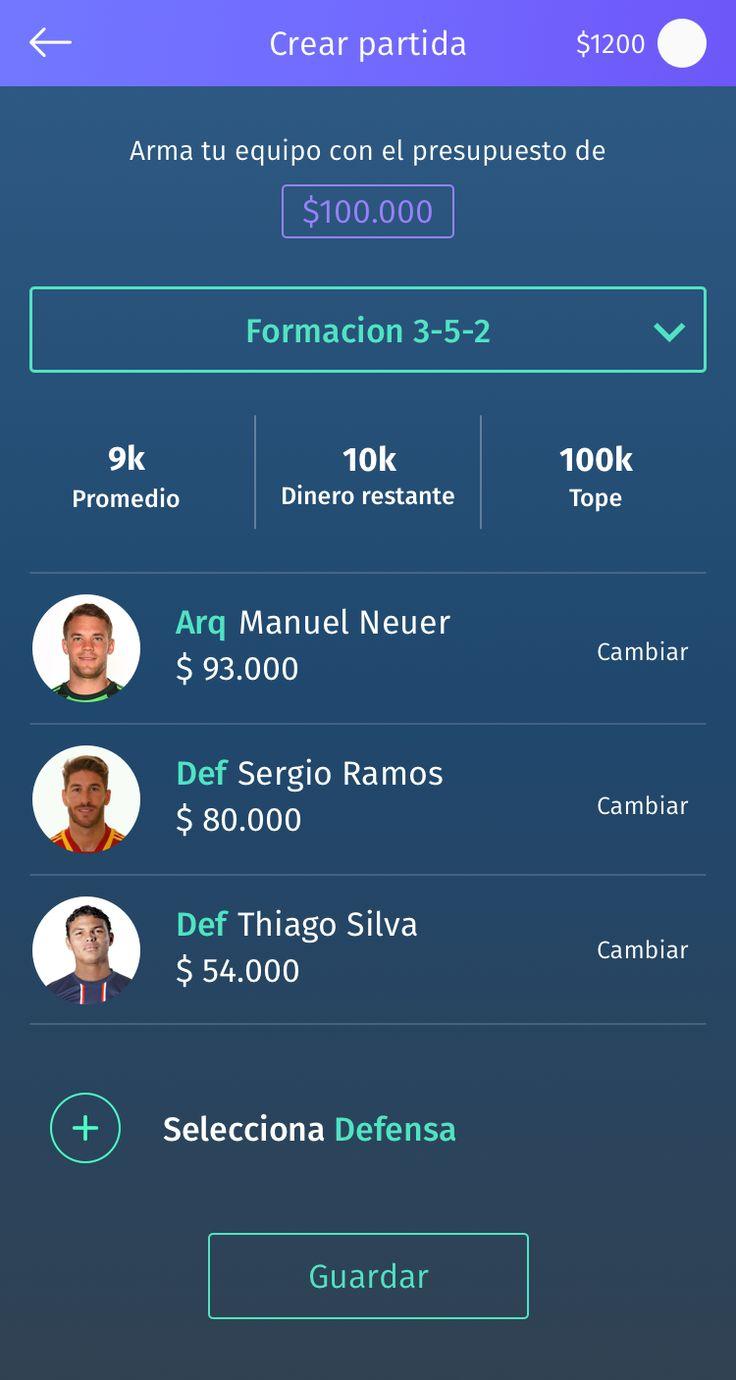 Fantasy soccer app UI Design