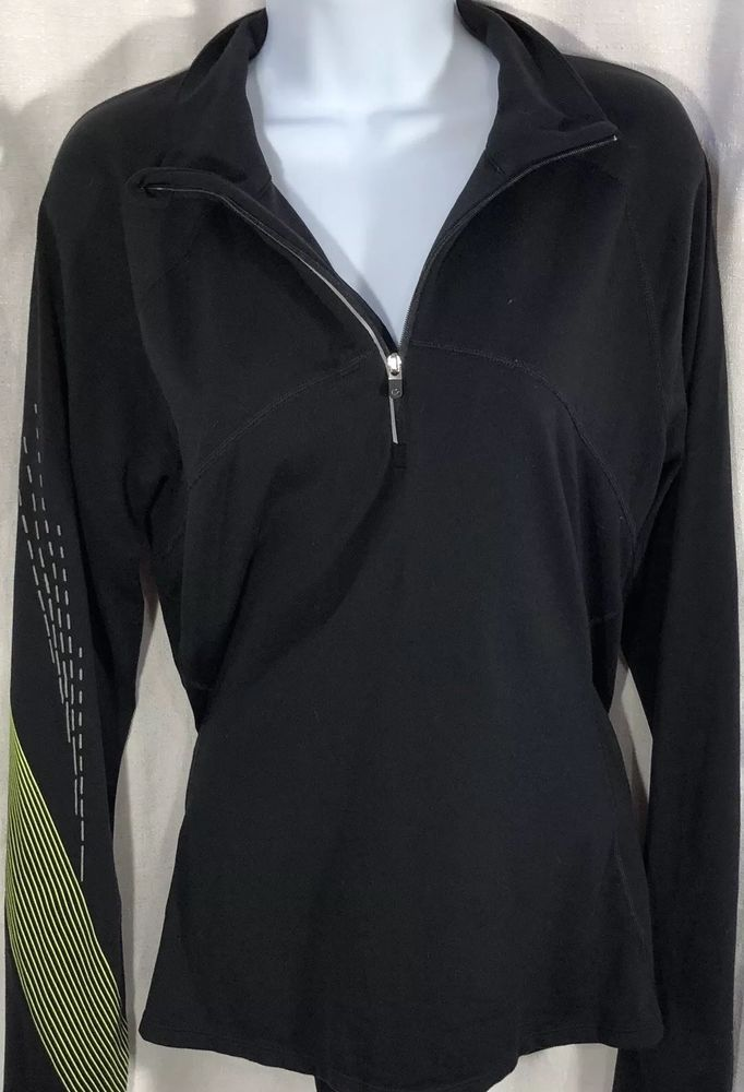 d118dc64601 Womens Gap Fit Pullover 3 4 Zip Size Large Running Jacket Black Green Nylon  PB6  fashion  clothing  shoes  accessories  womensclothing  activewear (ebay  ...