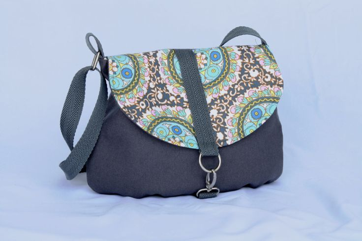Mini Messenger Grey with Designer Fabric Flap in Amy Butler Fabric.