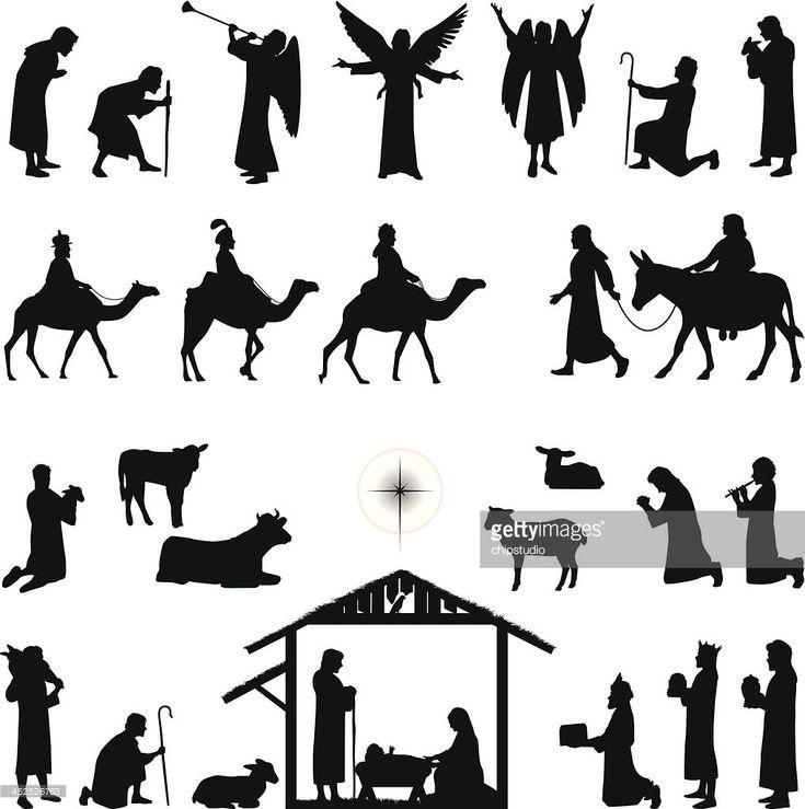 Nativity Scene Animals Silhouette | Nativity Vector Art | Getty Images