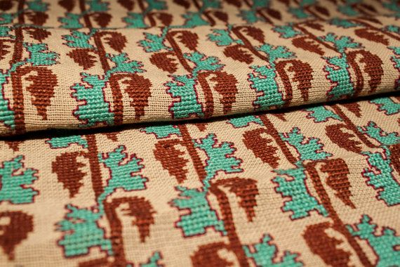 Petite Brown & Cyan Embroidery Coffee Table Cover by TangerineTown