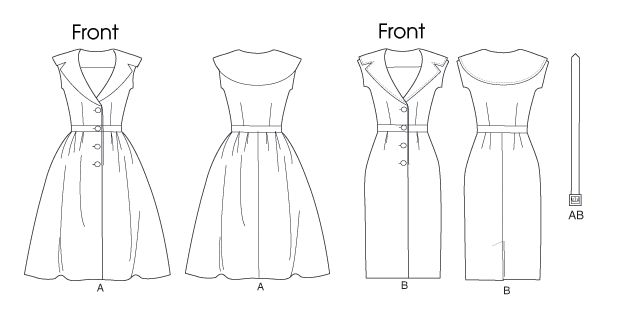 B5747 | Misses'/Misses' Petite Dress and Belt | Dresses | Butterick Patterns
