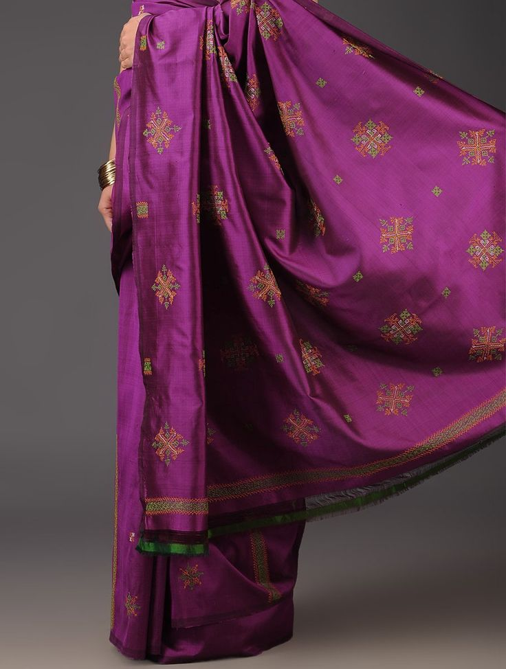 Dark Purple Silk Kasuti Handwoven Saree - Buy Sarees > Woven Sarees > Dark Purple Silk Kasuti Handwoven Saree Online at Jaypore.com