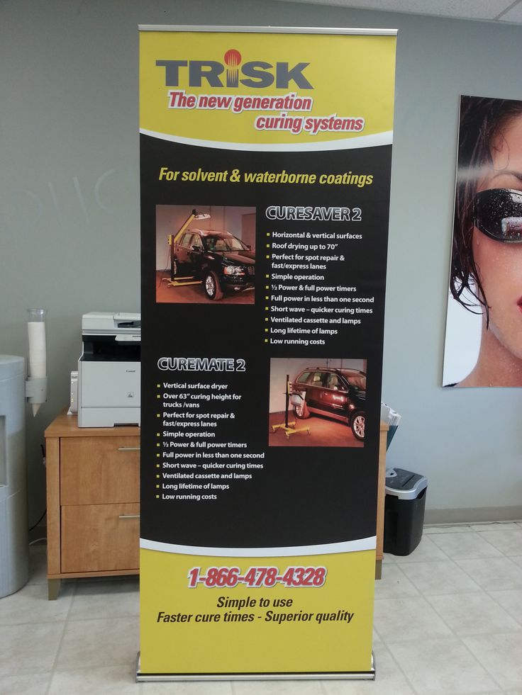 Digital print on Decolit stay flat (Anti-curl) matte banner material.  Complete with retractable banner stand.Done by one of our Speedpros! www.speedproeastpa.com