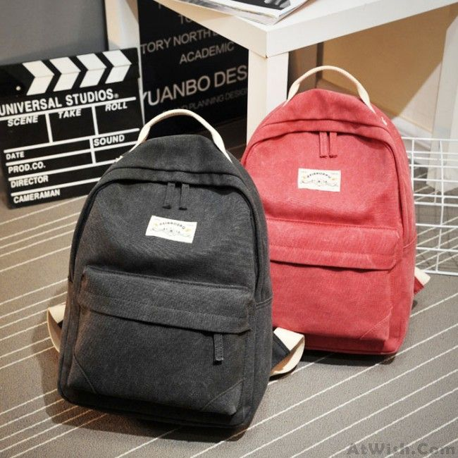 Khaki Solid Pure Color School Bag Leisure College Canvas Backpack