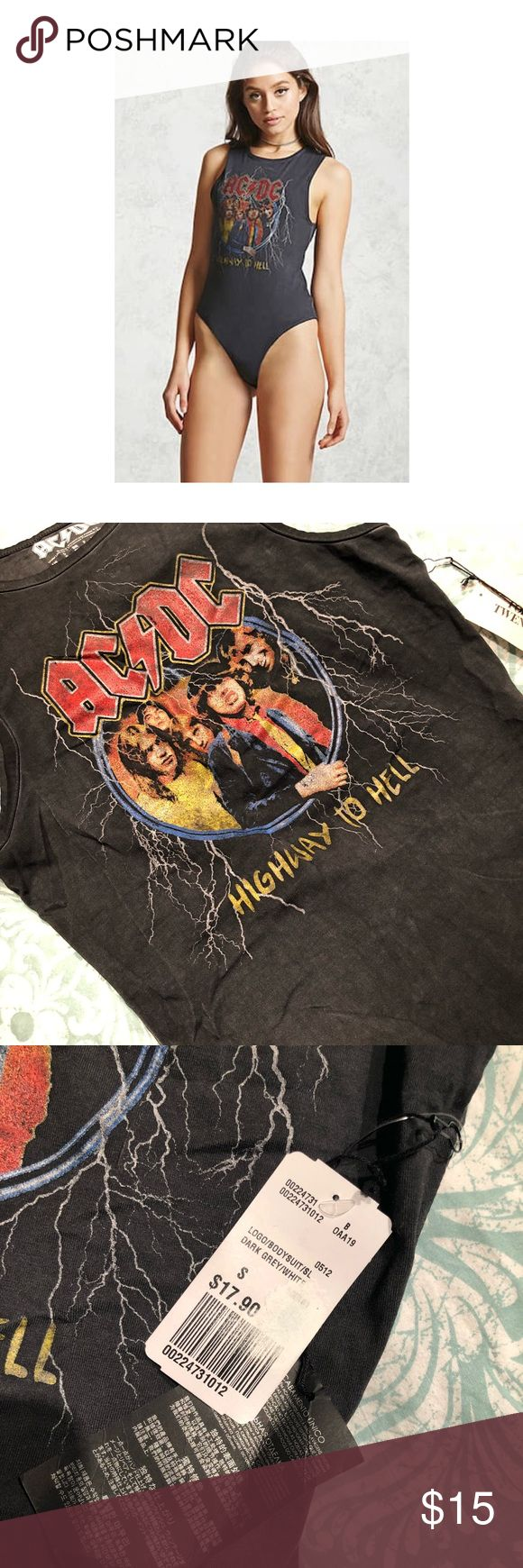 AC/DC Band Bodysuit Never worn with tags attached AC/DC Band Bodysuit, purchased for Coachella but didn't wear. Comes from smoke free home, definitely in need of a new loving closet! 🖤 Forever 21 Tops Muscle Tees