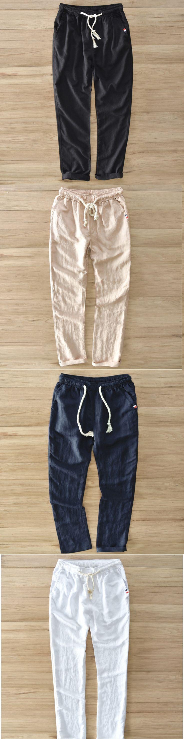 2017 Men Linen Casual Pants Stretch Flax Cotton Trousers White Black Khaki Men's Straight Pants Y054