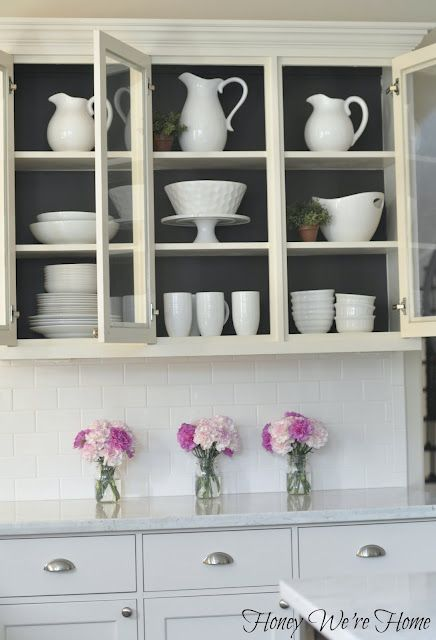 Honey We're Home: Painted Kitchen Cabinets inside.  Urbane Bronze from Sherwin Williams.  Love how the white pops against the darker gray.  So pretty~~   http://honeywerehome.blogspot.com/2012/08/painted-kitchen-cabinets.html  Inspired from Emily A. Clark blog.