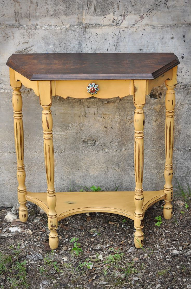 Yellow shabby chic furniture - Redemption Refinishing Arles Side Table And Garage Of Good