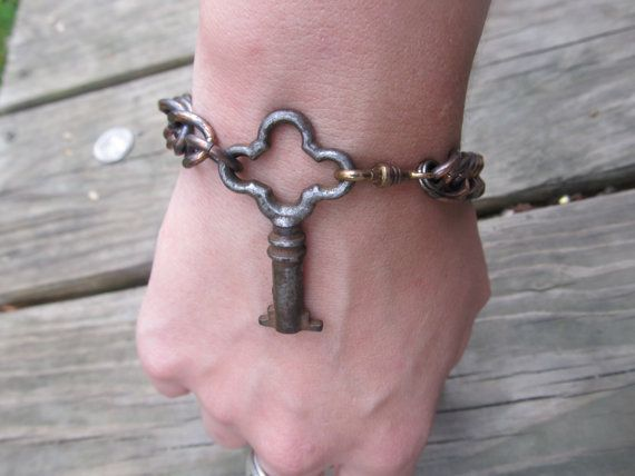 Skeleton Key Bracelet-Upcycled Assemblage.  By Rustic & Elegant Victorian Assemblage Jewelry / etsy