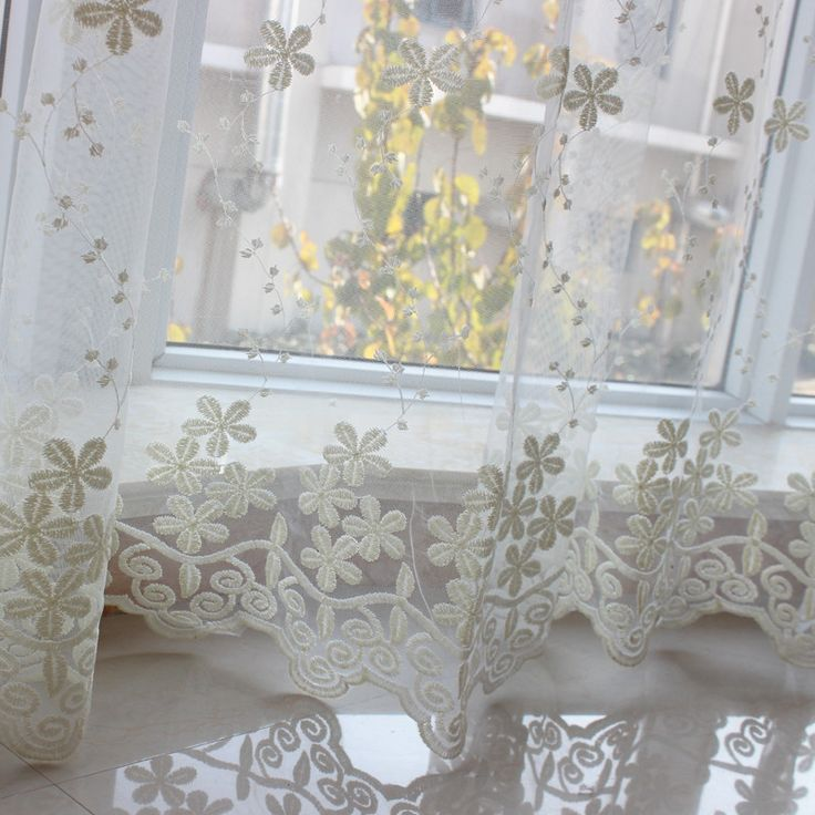 embroidered sheer voile cheap 3d curtains flower christmas window curtains kitchen home textile cortinas para sala de estar #Affiliate