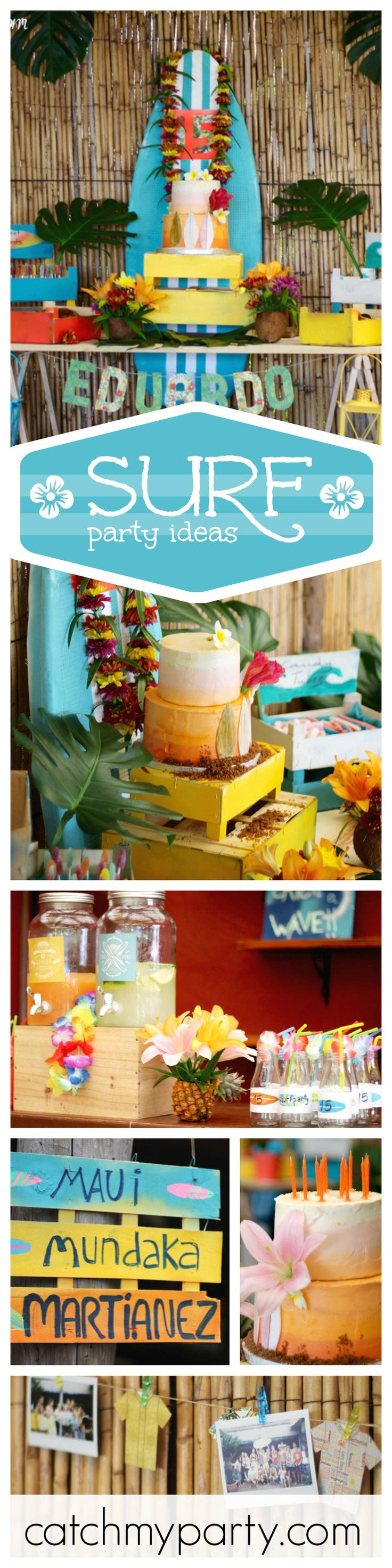 Surfs up with this awesome Surf/Beach inspired birthday party! Just love the surfboard backdrop and just look at that cake!! See more party ideas at CatchMyParty.com