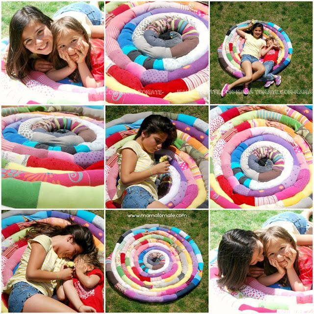 MAMÁ TOMATE: Tutorial Alfombra espiral hecha de camisetas recicladas de algodón. DIY Craft Ideas Carpet