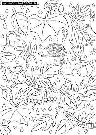 OPTIMIMMI | A free coloring page of rain, leaves and animals / Ilmainen värityskuva sateesta, lehdistä ja eläimistä