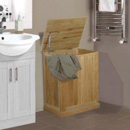 Mobel Oak Solid Oak Bathroom Laundry Bin