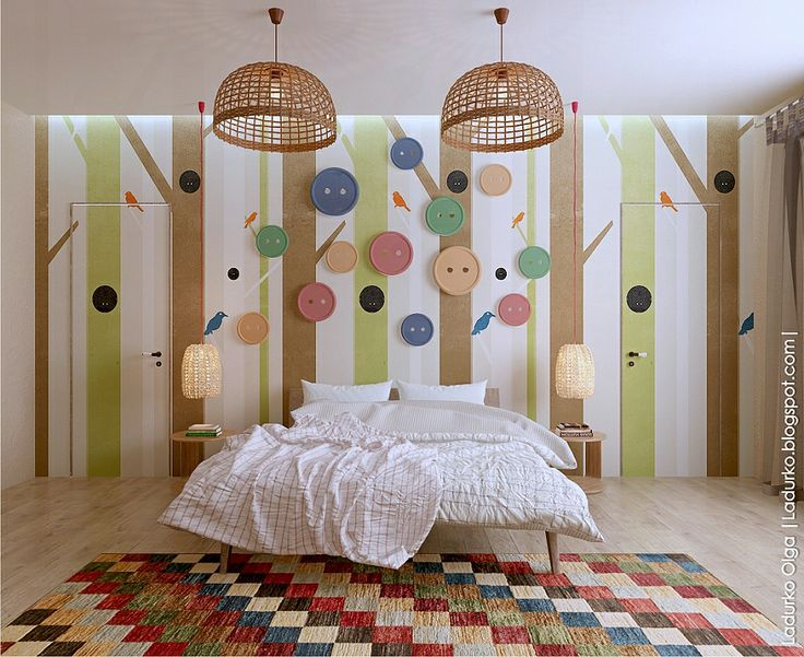 Интерьер этой комнаты получился очень ярким, легким и жизнерадостным. Здесь также присутствуют мягкие светлые тона, но они разбавлены яркими декоративными элементами.