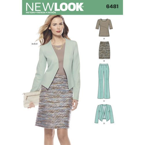 New Look Pattern 6481 Misses' Skirt, Pants, Jacket and Knit Top