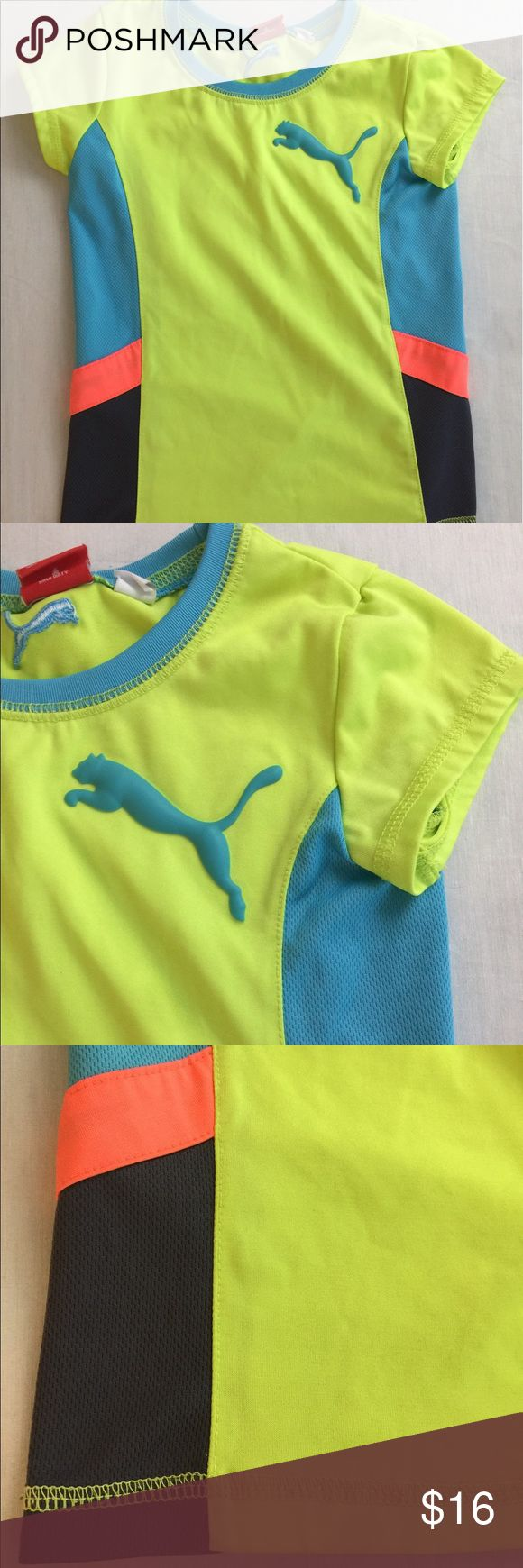 Puma Girls Athletic Top Sz 6 Sport Lifestyle Puma girls athletic top Sport Lifestyle Stretchy bright fun t Shirt  Large 3D puma on the front  No rips or stains Puma Shirts & Tops Tees - Short Sleeve