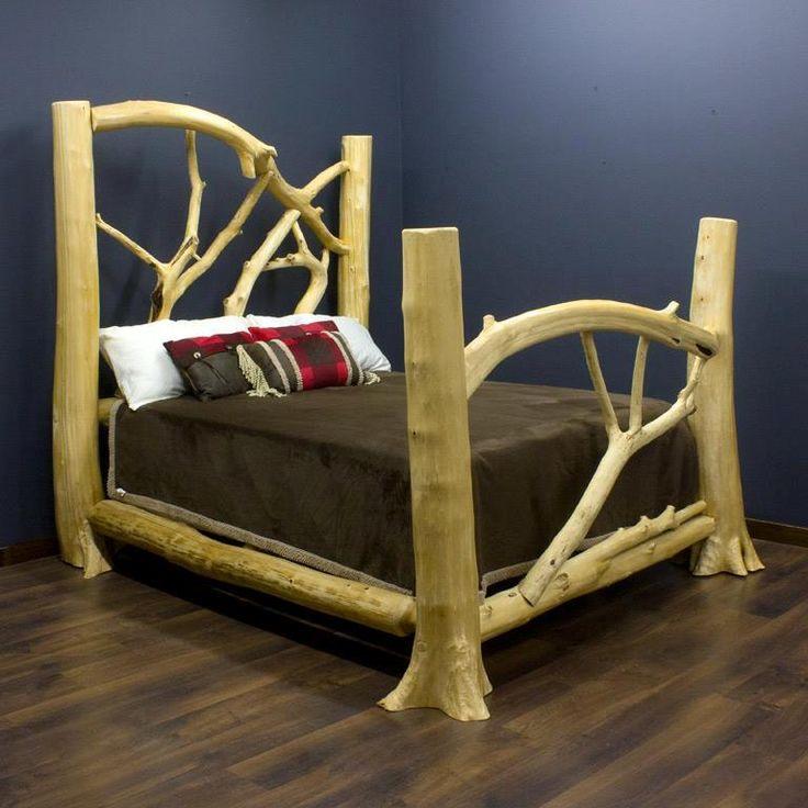Best 25 log bed frame ideas on pinterest log bed for Log canopy bed frames