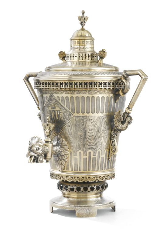 A MAGNIFICENT SILVER-GILT TEA AND COFFEE SERVICE, OVCHINNIKOV, MOSCOW, 1870-1871 Pavel Akimovitch Ovchinnikov (1830-1888) was a jeweller, silversmith, goldsmith, enameller, merchant, and industrialist; the principal in the imperial silversmith's workshop he founded in 1851.