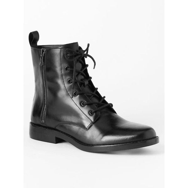 Gap Women Combat Boots ($98) ❤ liked on Polyvore featuring shoes, boots, black, regular, leather boots, pull on boots, black leather boots, slip on boots and army boots