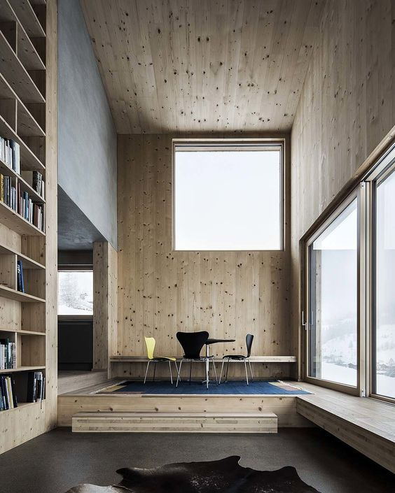 PB: Love the contrast between the polished concrete and the wood. I'd prefer white gyprock ceiling with black highlights e.g. downlights etc