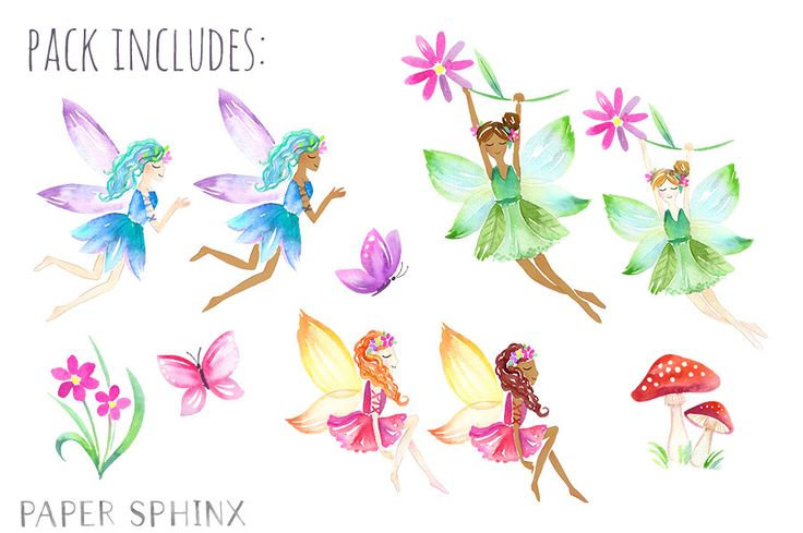 Watercolor Fairies Clipart | Flower Fairy ClipArt - Fantasy Girls Art - Two Skintones - Mushroom and Butterfly - Instant Download PNG Files from PaperSphinx on Etsy Studio