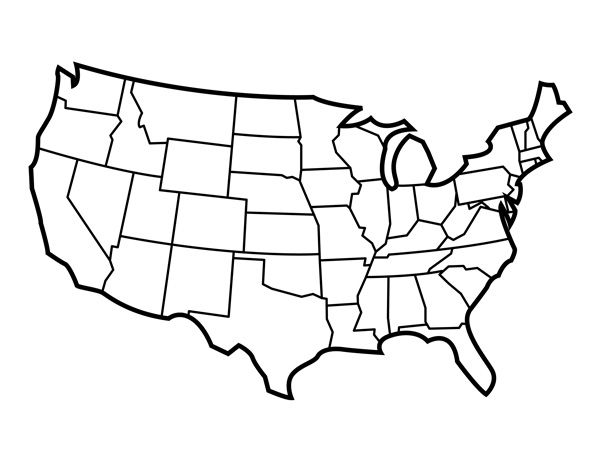 Blank United States Map with States for Students and